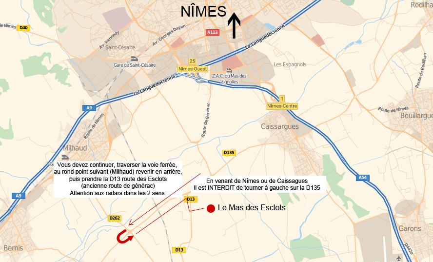 Plan d'accès Le Mas des Esclots Nimes
